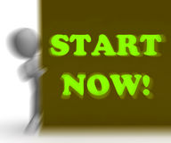 Start Now Placard Means Immediate Action Or Beginning Royalty Free Stock Photo