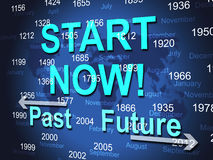 Start Now Represents At The Moment And Presently. Start Now Indicating At This Time And Immediate royalty free illustration
