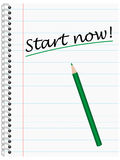 Start now, Ring Bond Writing Pad with green Pencil Royalty Free Stock Image