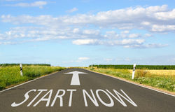 Start now road sign Royalty Free Stock Photography