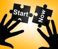 Start Now Shows At The Moment And Go Royalty Free Stock Photos