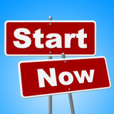 Start Now Signs Indicates At This Time And Begin Stock Photography