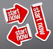 Start now stickers. Stock Photos