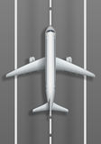 Start- och landningsbana med det vita flygplanet Bästa sikt för plan modell Design för affisch för annonsering för loppbyrå också vektor illustrationer