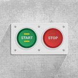 Start- och stoppknapp i gr? bakgrund vektor illustrationer