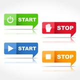 Start- och stoppknappar vektor illustrationer