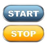 Start- och stoppknappar stock illustrationer