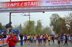 Top athletes Sofia marathon start. On October 12, 2014 in Sofia was held 31st International Marathon. The race started a total of 2,200 people, but at shorter Stock Photo