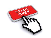Start over button. A red button with the label Start over and an finger cursor clicking on it Royalty Free Stock Image