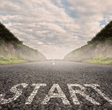 Start painted on asphalt Royalty Free Stock Photography