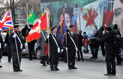 Start of parade. Photo was taken during Canadian Remembrance Day ceremonies in Winnipeg City, Manitoba province, Canada. on November 11, 2013. Location St Royalty Free Stock Photos