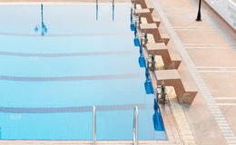 Start place of outdoor competition swimming pool Royalty Free Stock Photography