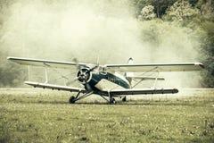 Start of the plane engine. Stock Photo