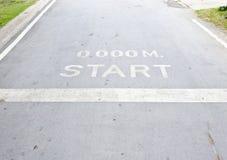 Start point. On the running way of urban park Stock Photo