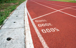 Start point for one three and five thoudsand on running track Royalty Free Stock Photography