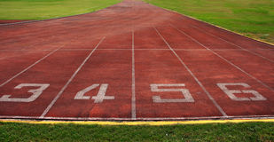 Start point,running track in stadium. Royalty Free Stock Image