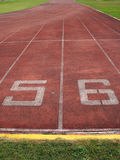 Start point,running track in stadium. Start point, number on  track in stadium Stock Photos