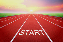 Start point with sunrise background Stock Images