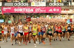Start of a popular race. Runners on start of Cursa de la Merce popular race in Montjuich Mountain on September 28, 2009 in Barcelona, Spain royalty free stock images