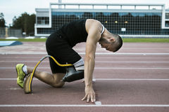 Start position of athlete with handicap Royalty Free Stock Photography