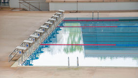 Start position in competition swimming pool. Stock Images