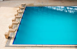 Start position in competition swimming pool. Stock Photos