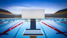 Start position in competition swimming pool Royalty Free Stock Photo