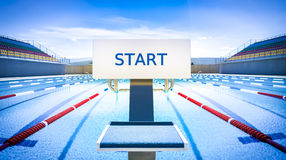 Start position in competition swimming pool Royalty Free Stock Photography