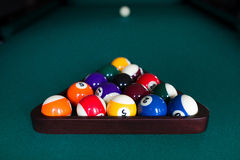 Start position fifteen ball on billiard table Royalty Free Stock Photo