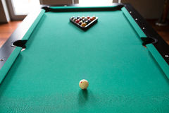 Start position fifteen ball on billiard table Stock Image
