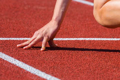 Start position. Tense fingers at the start line Royalty Free Stock Photography