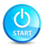 Start (power icon) splash natural blue round button. Start (power icon) isolated on splash natural blue round button abstract illustration royalty free illustration