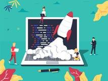 Start, Programmierer, Geschäftsprojekt, Idee, Projektleiter Flache Designvektorillustration lizenzfreie abbildung