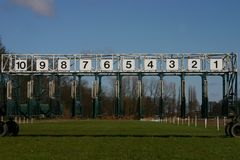 Start of the race. Start gates for horse races Stock Photography