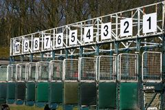 Start of the race. Start gates for horse races Stock Images