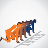 Start the race of businessmen.  Royalty Free Stock Image