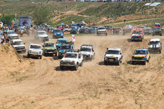 Start of the race on the SUV Stock Image