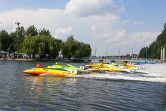 Start of the race UIM World Championship 2018 Ternopil Hydro GP Stock Image
