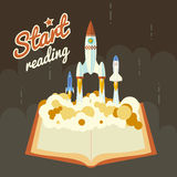 Start Reading Science Fiction Space Poster Concept Royalty Free Stock Images