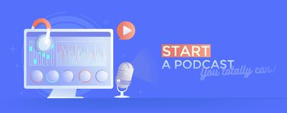 Start recording podcast. A computer with instruments, a microphone and headphones, and a program for processing audio Stock Photo