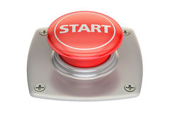 Start red button, 3D rendering Royalty Free Stock Photos