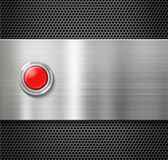 Start red button on metal plate background Royalty Free Stock Photos