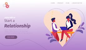 Man and Woman Communicating inside of Heart Frame. stock illustration