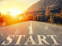 Start road of career. Concept of company startup. Road that says start in the asphalt. Concept of company startup vector illustration