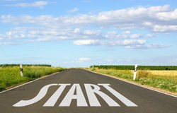 Start on road in countryside. Word start written on straight countryside road with cloudscape background, business concept Royalty Free Stock Images