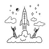 Start of the rocket in clouds, vector illustration Stock Images