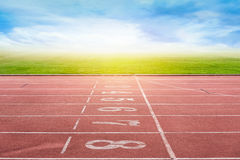Start running track in stadium or sport park. Royalty Free Stock Photo