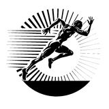Start running. Vector illustration in the engraving style Royalty Free Stock Photo