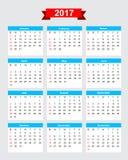 start söndag för vecka för kalender 2017 vektor illustrationer