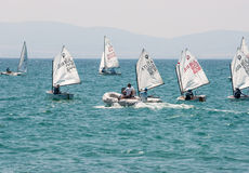 Start sailing competitions in Pomorie. Bulgaria Stock Image
